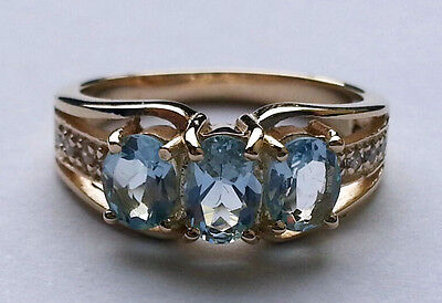 R245/1 Genuine Thick 9K Solid Gold Natural Aquamarine & Diamond Trilogy Ring
