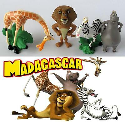 4pc Madagascar Movie Characters Figures Birthday Cake Topper Stand Figurine Set