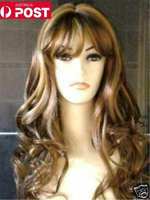 Blonde & Brown Mix Long Stylish Wavy Curly Cosplay Party Heat Full Hair Wig