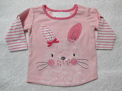 Baby Girls Pink Long Sleeved Top With Lace Bunny Rabbit  So Sweet Size 000