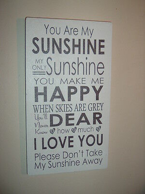 YOU ARE MY SUNSHINE plaque shabby vintage chic sign large 12x6 christmas gift