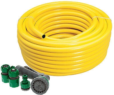 New 75m Professional Heavy Duty Yellow Hose Pipe + Spray Gun Set Garden Hosepipe