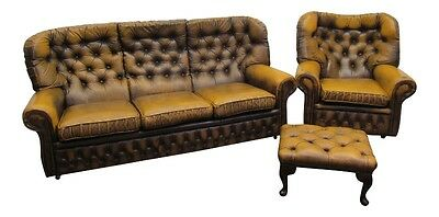 Vintage Leather Chesterfield 3 Seater Chesterfield Sofa Settee & Arm Chair