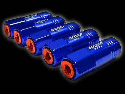 20Pc 12X1.5Mm 60Mm Extended Aluminum Tuner Racing Capped Lug Nuts Blue/Red