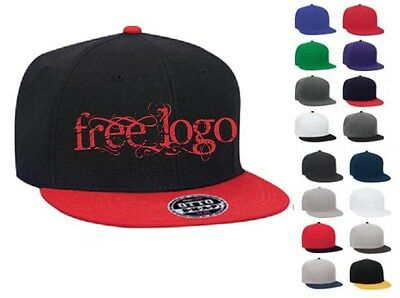 12 Custom Embroidered FREE LOGO *  Flat BILL SNAP BACK Caps Embroidery HATS *New