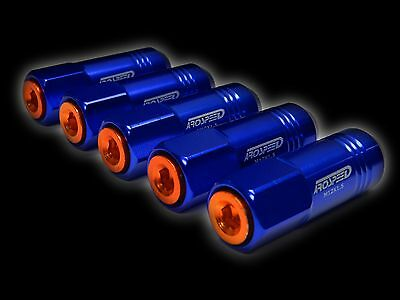 20Pc 12X1.5Mm 60Mm Extended Aluminum Tuner Racing Capped Lug Nuts Blue/Orange