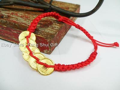 Feng Shui Chinese Oriental LUCKY I Chin Coin Charm Thread Adjustable Bracelet #d