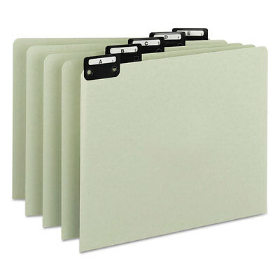 Green Recycled Top Tab Guides, Alpha, 1/5 Tab, Pressboard, Letter, 25/Set