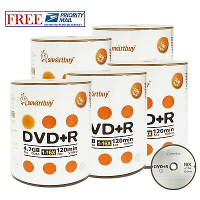 500 Pack Smartbuy 16X DVD+R 4.7GB Logo Top Data Video Blank Media Record Disc
