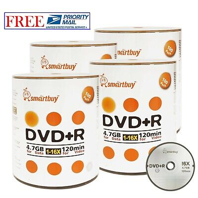 400 Pack Smartbuy 16X DVD+R DVDR 4.7GB Logo Top Data Video Blank Recordable Disc