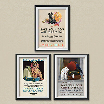 A3 Vintage Travel Posters: British Railways GWR LMS Take your Dog Poster