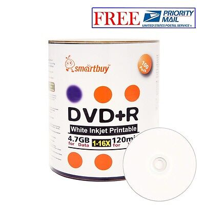 100 Pack Smartbuy 16X DVD+R 4.7GB White Inkjet Hub Printable Blank Record Disc
