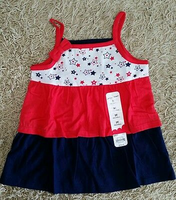 NWT Jumping Beans Girls 2T 3T 4T Red Blue Tiered Babydoll Tank JULY 4TH 127K814