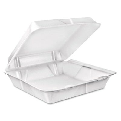 Foam Hinged Lid Containers, 9.375 x 9.375 x 3, White, 200/Carton - DCC 90HT1R