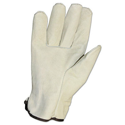 Unlined Grain-Leather Drivers' Gloves, Large, Cream