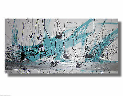 HUGE ABSTRACT CANVAS PAINTING WALL ART white turquoise silver Australia