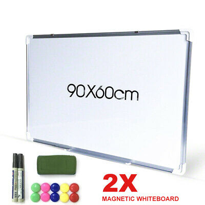 2X Magnetic White Board Commercial Portable 90X60cm Office FREE Marker Erase