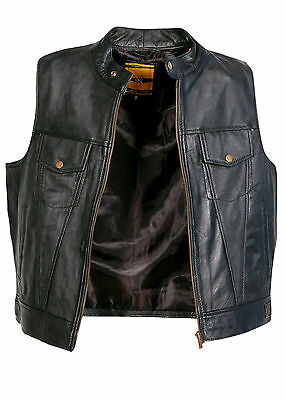 REAL LEATHER WAISTCOAT  Biker Vest Motorcycle MotorBike Black  / Cut Off Vest