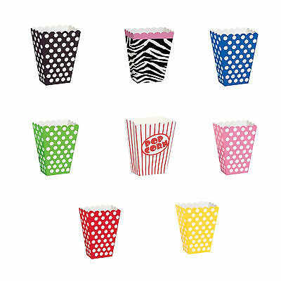 8 Pack Of Party Popcorn Treat Boxes Polka Dot Loot Bags Birthday Paper Bags