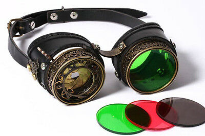 RQ-BL Steampunk Blende Leder Brille Goggles Leather mechanical Shutter Gothic 68