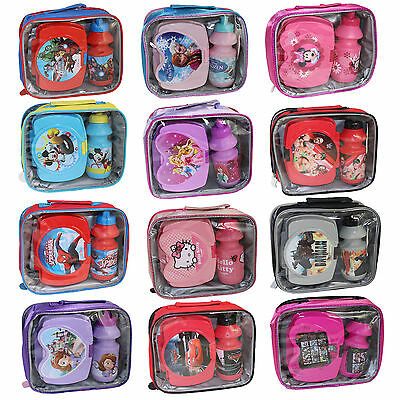 Character & Disney Insulated Raised Front Lunch Bag, Snack Box and Bottle Sets
