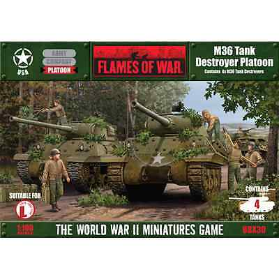 FoW-UBX30 - FLAMES of WAR: 15mm; M36 Tank Destroyer Platoon (contains 4 tanks)