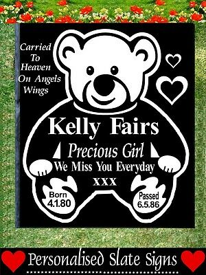 Baby Child Memorial Graveside Slate Sign Marker Plaque Personalised Loved One