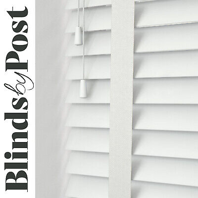 WHITE WITH TAPES - Wooden Venetian Blind - Made to Measure -Real Wood Child Safe