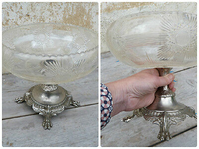 Antique 1900 old French cut glass crystal centerpiece /fruts plate / Lion paws