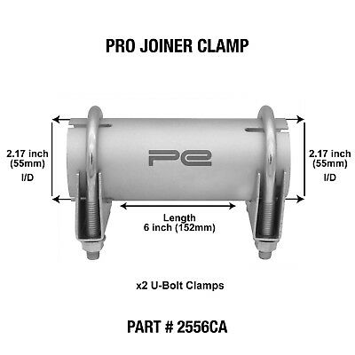 """55mm 2.17"""" inch Clamp on Exhaust pipe joiner connector sleeve tube repair 2556CA"""
