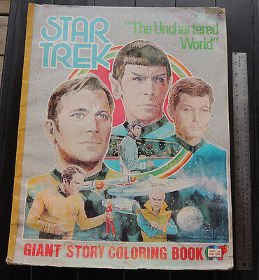 Vintage 1978  Star Trek Large Coloring Book The Uncharted  World  DISTRESSED