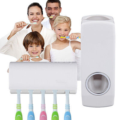 Wall Mount Rack Auto Automatic Toothpaste Dispenser Toothbrush Holder For home