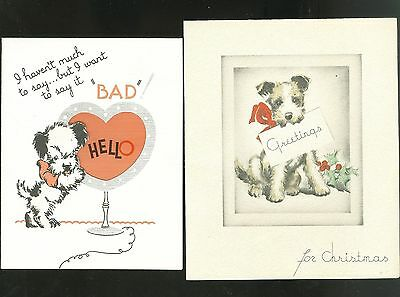 Two Great Deco 1930s Doggie Greeting Cards Christmas & Valentine