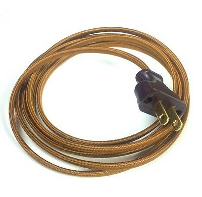 8ft Copper Cloth Covered Wire Vintage Rewire Kit - Antique Cloth Wire W/Plug