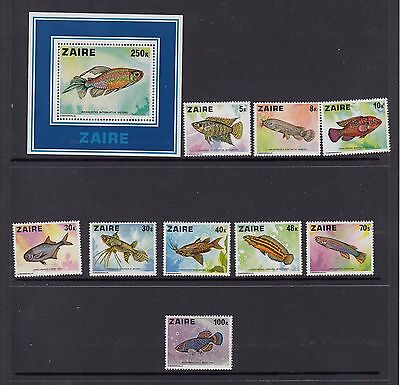 Zaire Set of 9 Fish on Stamps Marine Life Scott 862-71 MNH