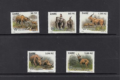 Zaire set of 5 wild animals scott # 1403-7