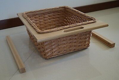 KITCHEN UNIT WICKER BASKETS to suit 500mm, 600mm, PULL OUT, SOLID BEECH RUNNERS
