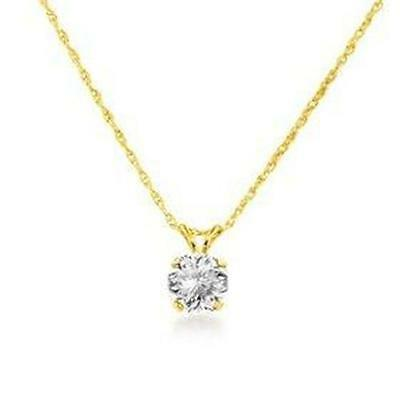 1 ct Real 14k Solid Yellow Gold Round set Solitaire Pendant Necklace Rope Chain