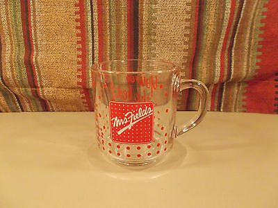 Mrs. Fields Glass Coffee Cup Mug You're The Best! Red Polka Dots - EXC!