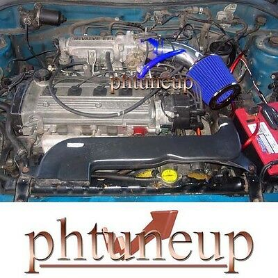 Blue Fit 1992-1999 Toyota Paseo 1.5 1.5L Ram Air Intake Kit Systems + Filter