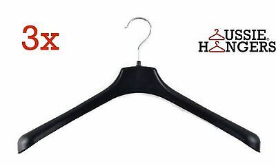 3x JACKET HANGER Heavy Duty 460mm Commercial Pants Clothing Coat Quality R51L