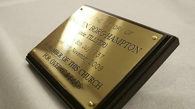 Solid Brass Engraved Plaques. High quality plate, deep engraved free. Black Fill