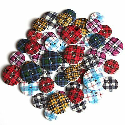 Job Lot of Assorted Scottish Tartan Buttons Size 15mm