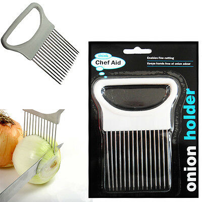 Hand Held Onion Holder Chef Aid Easy Slicer Cutter Potato Wedges Kitchen Tool