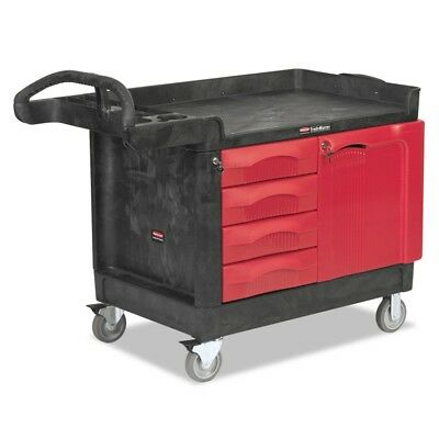 TradeMaster Cart, 750-lb Cap., 1 Shelf, 26 1/4w x 49d x 38h, Black