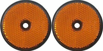 A pair of trailer and truck reflectors round screw on 2 x amber Pt no  LMX1631
