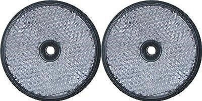 A pair of trailer and truck reflectors round screw on 2 x white