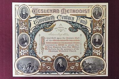 John Wesley Methodist Certificate - Printed by Hazell, Watson, & Viney