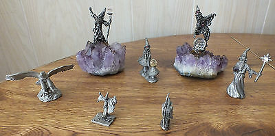 Lot of 7 - 1980's vintage Spoontiques Pewter wizards crystals /eagle / amethysts