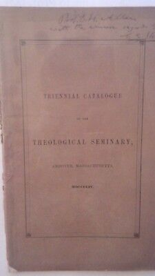 Triennial Catalogue of the Theological Seminary signed by C.E. Stowe